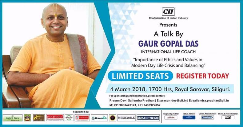 """Importance of ethics and values in modern day life crisis and balancing"" – A talk by Gaur Gopal Das"