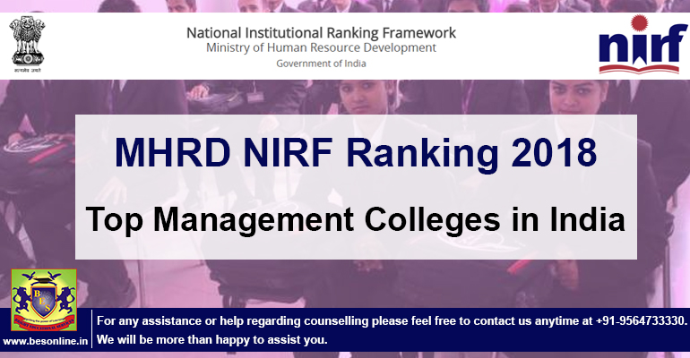 2018 MHRD Rankings of Management Colleges in India