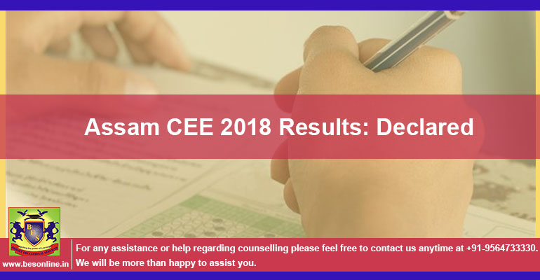 Assam CEE 2018 Results: Declared