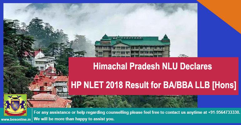 Himachal Pradesh NLU Declares HP NLET 2018 Result for BA/BBA LLB [Hons]