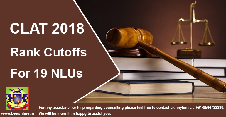 CLAT 2018 Rank Cutoffs for 19 NLUs