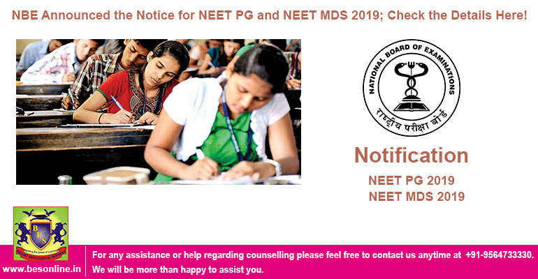 NBE Announced the Notice for NEET PG and NEET MDS 2019; Check the Details Here!