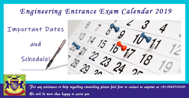 Engineering Entrance Exam Calendar 2019; Important Dates & Schedule!