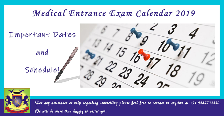 Medical Entrance Exam Calendar 2019; Important Dates & Schedule!
