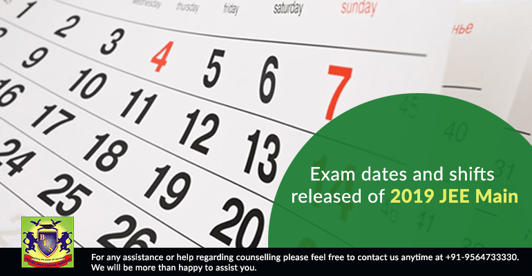 Exam dates and shifts released of 2019 JEE Main