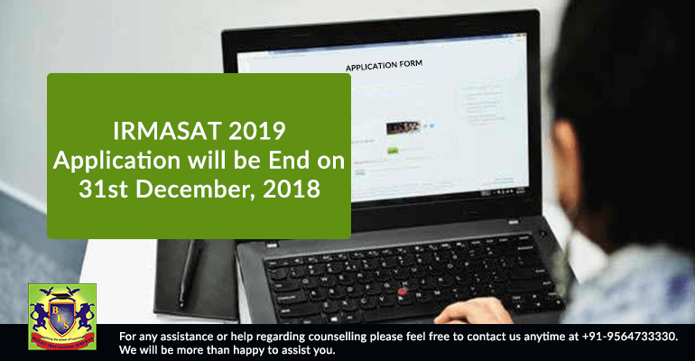 IRMASAT 2019: Application will be End on 31st December, 2018