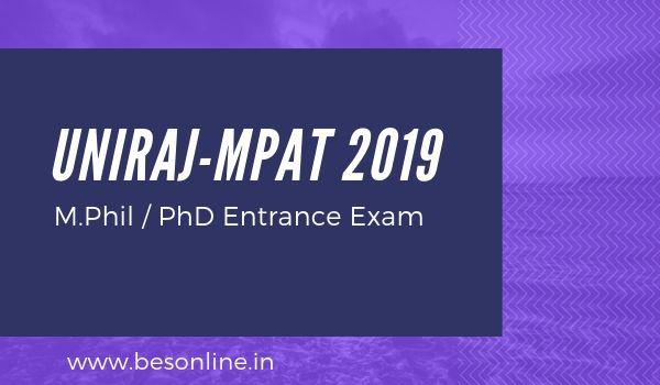 UNIRAJ-MPAT 2019 - University of Rajasthan MPhil & PhD Admission