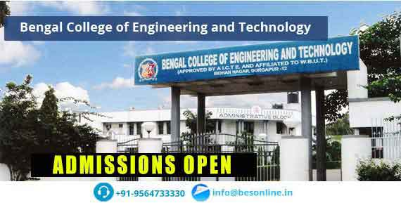 Bengal College of Engineering and Technology Admissions