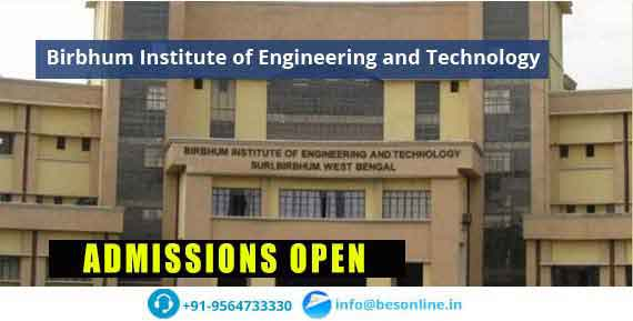 Birbhum Institute of Engineering and Technology Admissions