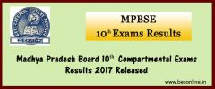 Madhya Pradesh Board 10th Compartmental Exams Results 2017 Released