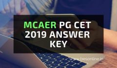 MCAER PG CET 2019 Answer Key - Released