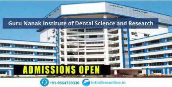 Guru Nanak Institute of Dental Science and Research Admissions