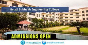 Netaji Subhash Engineering College Admissions