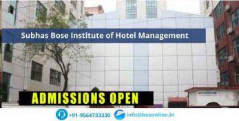 Subhas Bose Institute of Hotel Management Admissions